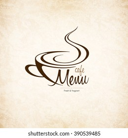 Restaurant or coffee house menu design. Vector brochure template for cafe, coffee house, tea, restaurant, bar. Food and drinks logotype. Coffee symbols. Coffee cup design, vintage crumpled background