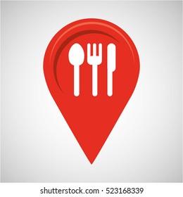 restaurant concept pin map design vector illustration eps 10
