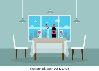 Restaurant or dining room, eatery, canteen. Image of table against window with set wineglasses and rose. Eps vector illustration, horizontal image, flat style graphic design.