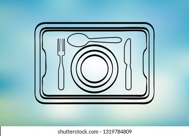 Restaurant dish icon. Food delivery. Logo vector on background of blue sky. Tray. Covered food. Restaurant cloche sketch icon for infographic, website or app.