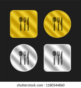 Restaurant eating tools set of three pieces gold and silver metallic coin logo icon design