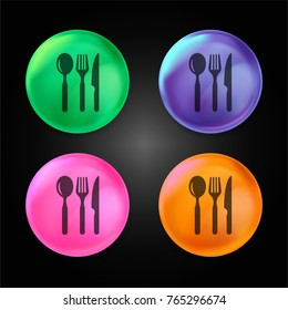 Restaurant eating tools set of three pieces crystal ball design icon in green - blue - pink and orange.