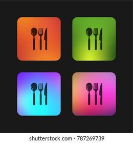 Restaurant eating tools set of three pieces four color gradient app icon design