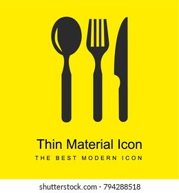 Restaurant eating tools set of three pieces bright yellow material minimal icon or logo design