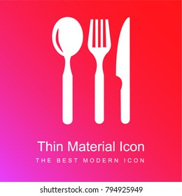 Restaurant eating tools set of three pieces red and pink gradient material white icon minimal design