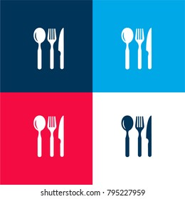 Restaurant eating tools set of three pieces four color material and minimal icon logo set in red and blue