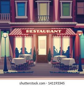 Restaurant facade. Retro style vector illustration