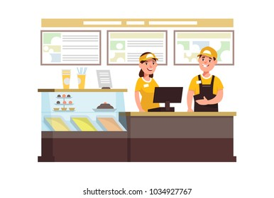 Restaurant fast food worker with cash register. Cervice staff young man and female in uniform in the workplace in cafe
