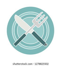 restaurant flat icon- fork plate Illustration- menu symbol-dining Isolated-cooking Sign-eat Icon