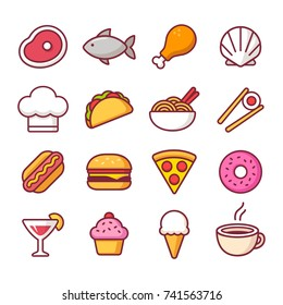 Restaurant food bright cartoon icon set, different cuisines. Meat and seafood, drinks and desserts, ethnic dishes and fast food. Isolated vector illustration.