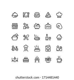 Restaurant Food Business Outline Icons