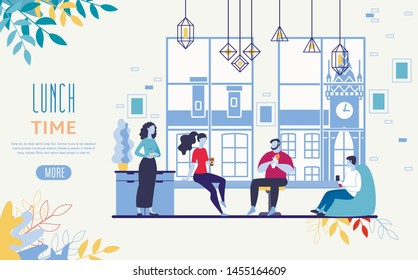 Restaurant Food, Coffee Shop Drinks Delivery Service Flat Vector Web Banner, Landing Page Template with Female, Lame Employees, Company Office Workers Lunching, Drinking Coffee at Work Illustration