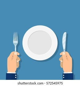 Restaurant and Food concept. hands holding knife and fork and Empty plate. Top view. Vector illustration flat design.