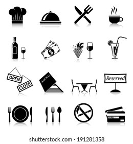 Restaurant food cooking and serving black and white icons set isolated vector illustration