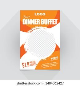 Restaurant food flyer template, modern food menu flyer design, dinner buffet offer