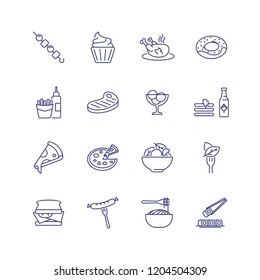 Restaurant food line icon set. Chicken, doughnut, sandwich. Eating concept. Can be used for topics like menu, cafe, cooking