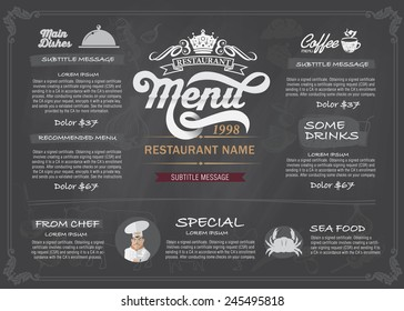 Restaurant Food Menu Design with Chalkboard Background Stock Vector Illustration