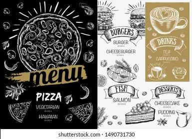 Restaurant food menu design, hand drawn illustrations.