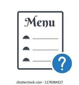 Restaurant food menu icon, cafe menu concept icon with question mark. Restaurant food menu icon and help, how to, info, query symbol