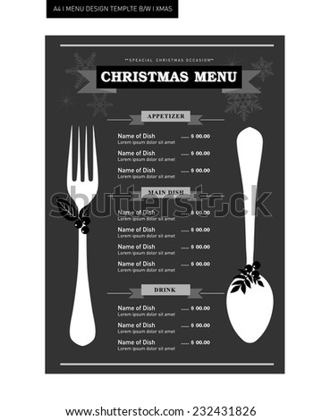 restaurant food menu template design black stock vector royalty