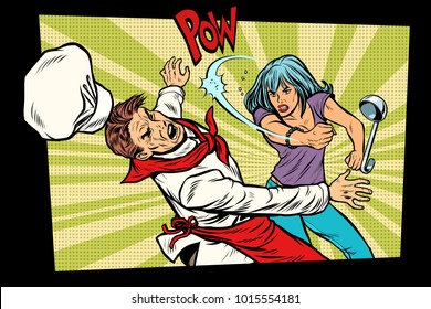 restaurant food. Unhappy woman fights with the cook. Bad food, dissatisfied customer. Pop art retro vector illustration hand drawn comic cartoon