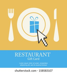 restaurant gift card; present with computer arrow on plate