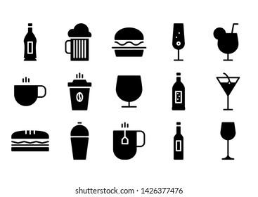 Restaurant glyph icon symbol set