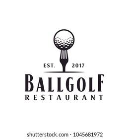 Restaurant Golf Bar Vintage with Ball and Fork logo design