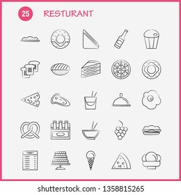 Restaurant  Hand Drawn Icons Set For Infographics, Mobile UX/UI Kit And Print Design. Include: Carrot, Food, Vegetable, Meal, Bottle, Food, Meal, Mustard, Eps 10 - Vector