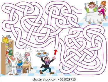 Restaurant. Help restaurant waiter to find a path to hungry guests. Labyrinth for kids. Landscape, easy.