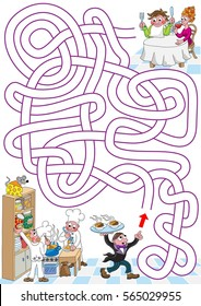 Restaurant. Help restaurant waiter to find a path to hungry guests. Labyrinth for kids.  Portrait, easy.