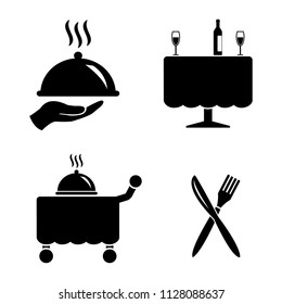 Restaurant and hotel diner vector icon set, hand with food cloche, table with drinks, service cart and knife and fork icons