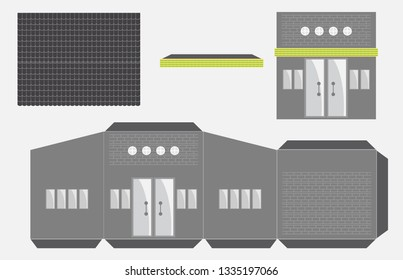 Restaurant or House Paper Model, Cut and glue