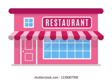 Restaurant icon with a canopy, symbol.  Facade of the building is in a flat or cartoon style. Sign of the house is pink color. Stylish colour image. Vector illustration isolated on white background.