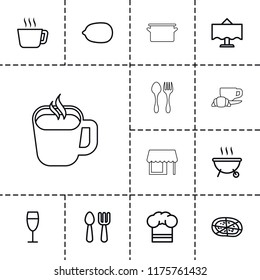 Restaurant icon. collection of 13 restaurant outline icons such as fork and spoon, lemon, tea, pizza, wine glass, chef hat. editable restaurant icons for web and mobile.