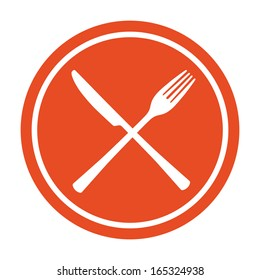 Restaurant icon. Crossed fork and knife.