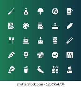 restaurant icon set. Collection of 25 filled restaurant icons included Dish, Wine, Chili, Drink, Room service, Minibar, China, Jawbreaker, Sausage, Tongs, Beer, Cake, Cutlery