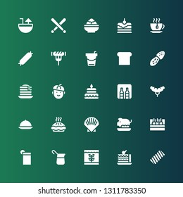 restaurant icon set. Collection of 25 filled restaurant icons included Marshmallow, Cake, Fish, Coffee, Drink, Beer, Pork, Shell, Pie, Room service, Sausage, Minibar, French, Pancake
