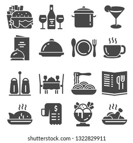 Restaurant icon set suitable for info graphics, websites and print media. Black flat icons.