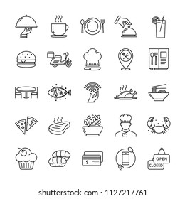 Restaurant icon set suitable for infographics, websites and print media, Outline restaurant and food icons