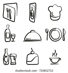 Restaurant Icons Freehand
