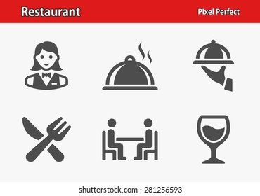 Restaurant Icons. Professional, pixel perfect icons optimized for both large and small resolutions. EPS 8 format.