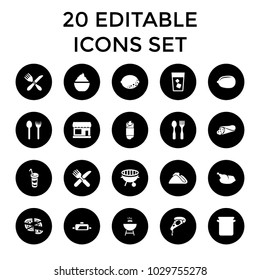 Restaurant icons. set of 20 editable filled restaurant icons such as store, lemon, fork and spoon, wrap sandwich, pizza. best quality restaurant elements in trendy style.