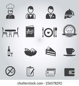 Restaurant icons set