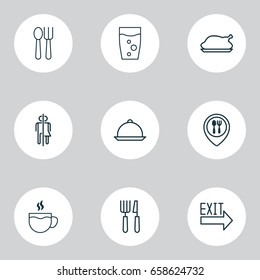 Restaurant Icons Set. Collection Of Soda Drink, Restroom, Chicken Fry And Other Elements. Also Includes Symbols Such As Exit, Cup, Fry.