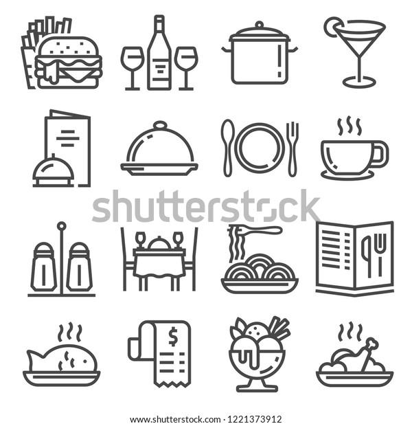 Restaurant icons set on white background. Vector illustration