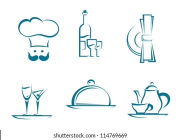 Restaurant icons and symbols set for food service design. Jpeg version also available in gallery