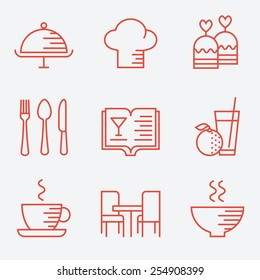 Restaurant icons, thin line style, flat design