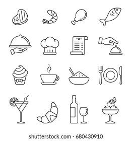 Restaurant icons: thin monochrome icon set, black and white kit