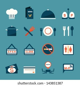 Restaurant icons, vector
